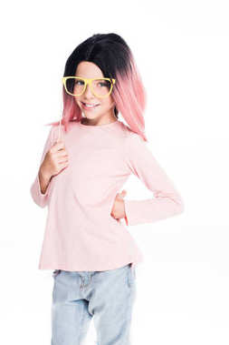 kid in pink wig