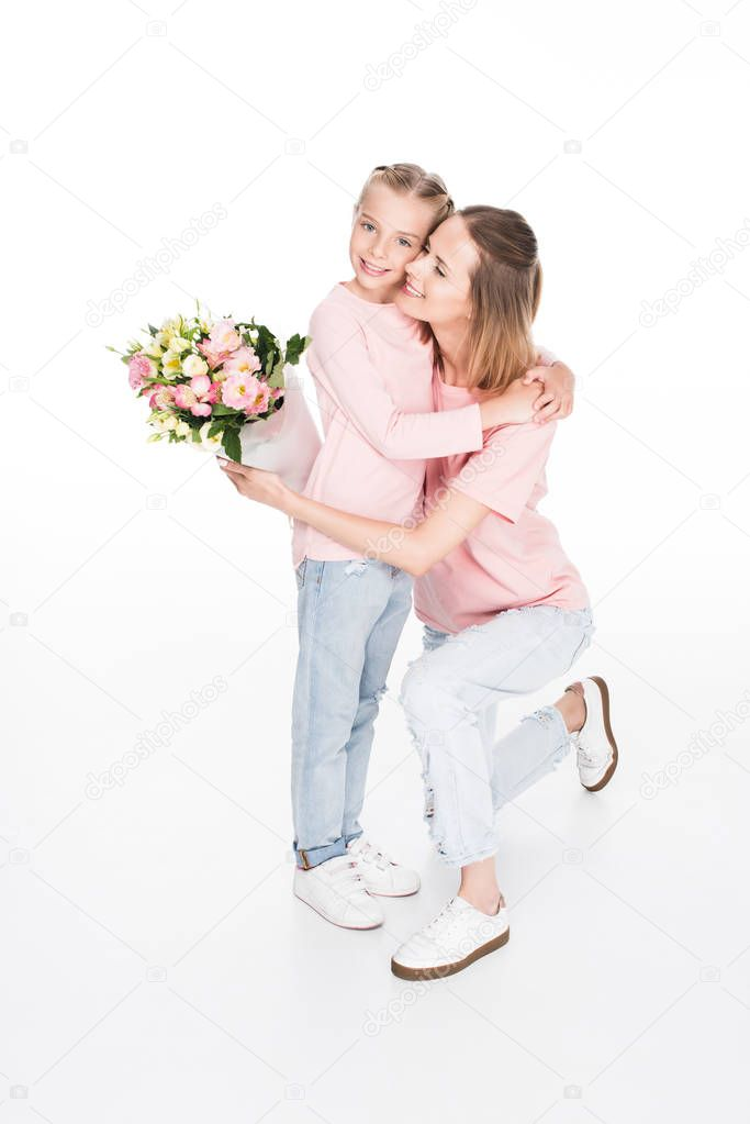 mother and daughter hugging on mothers day