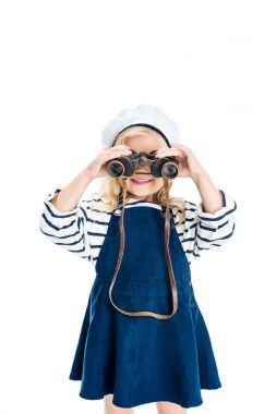 child holding binoculars