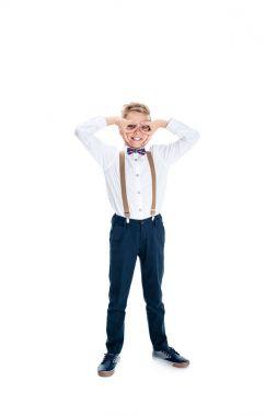 cheerful boy in eyeglasses