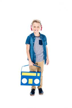 Boy listening music in headphones