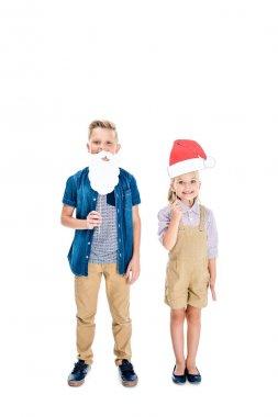 kids with santa hat and fake beard