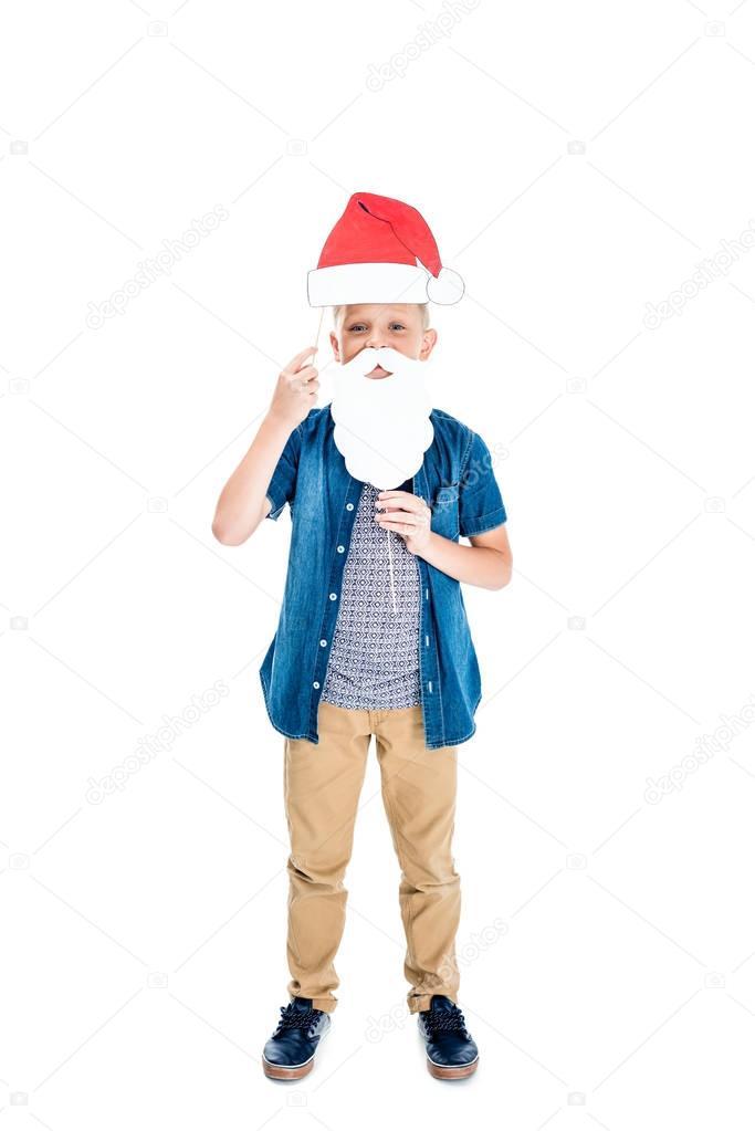 boy with santa hat and fake beard