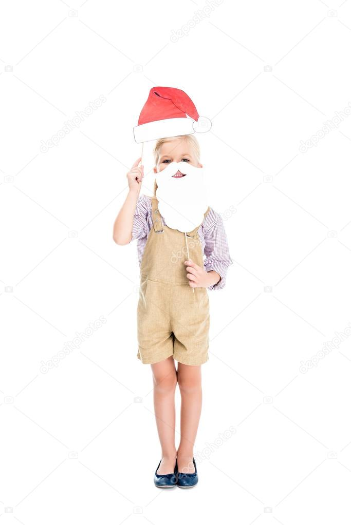 kid with santa hat and fake beard