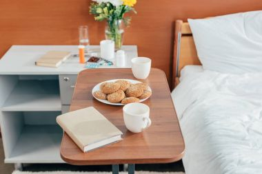 cookies and book in hospital room