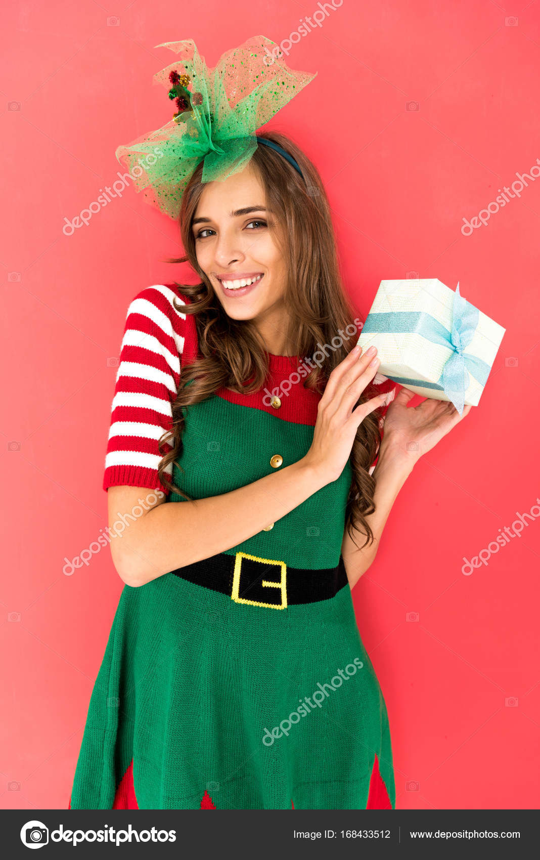 woman in elf costume with christmas gift — Stock Photo ...