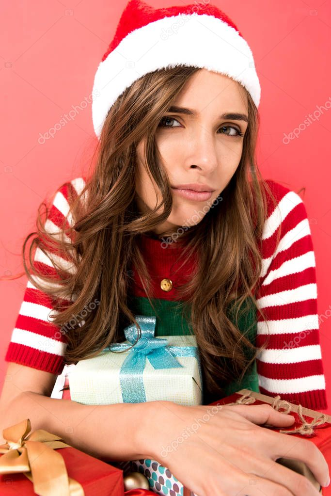 woman in elf costume with presents