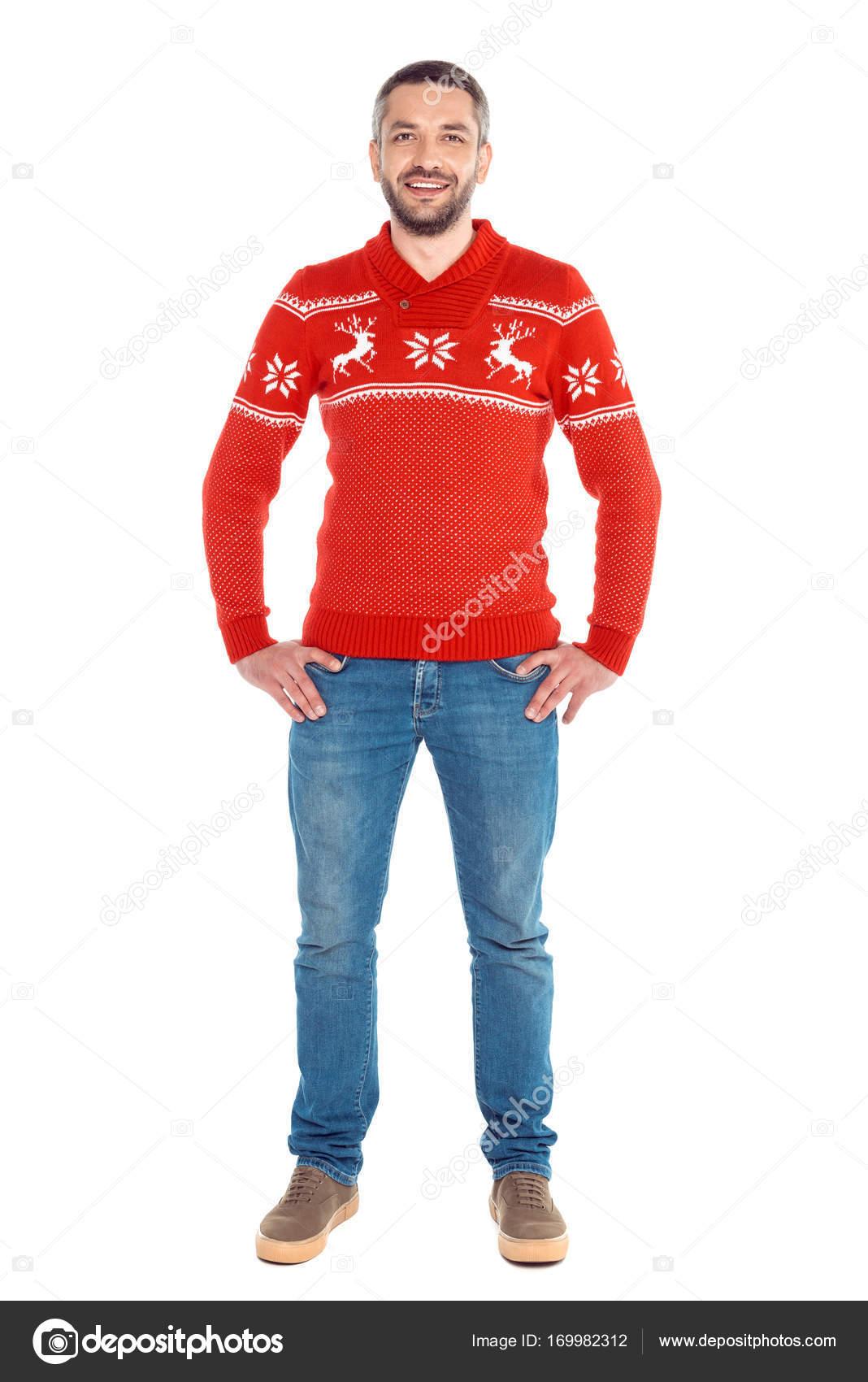 Kersttrui Man.Man In Rode Kerst Trui Stockfoto C Igorvetushko 169982312
