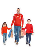 Fotografie Vater und Kinder mit Einkaufstüten