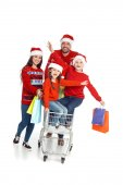 family with shopping cart at christmastime