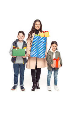 mother and kids with shopping bags