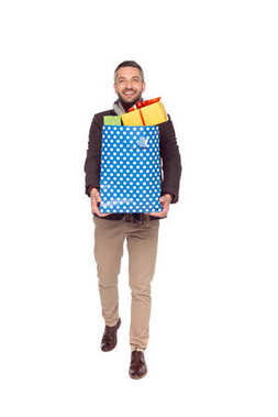 man with shopping bag and gifts