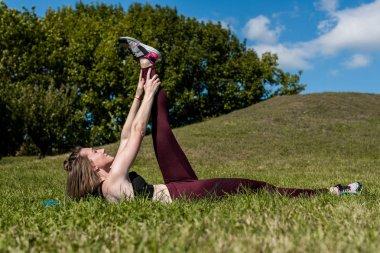 woman training abs