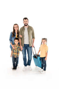 happy family with suitcase