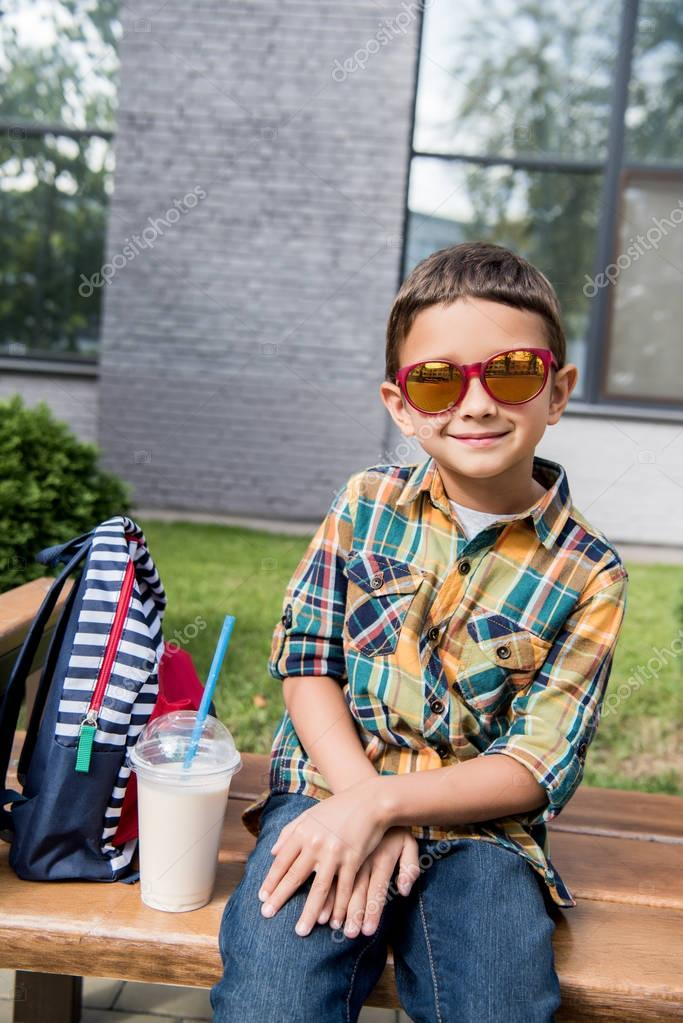 preschooler boy in sunglasses