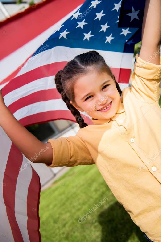 child with american flag