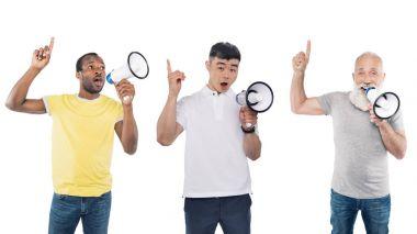 multicultural men with loudspeakers