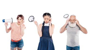 multiethnic people with megaphones in hands