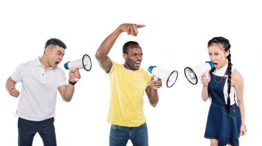 multiethnic people with megaphones