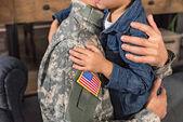 Fotografie umfassenden militärischen Vater und Sohn