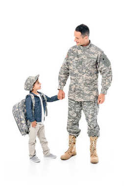 little boy and father in military uniform