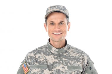 smiling american soldier