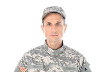 Military man in usa camouflage uniform looking at camera isolated on white stock vector