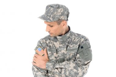 soldier in usa camouflage uniform