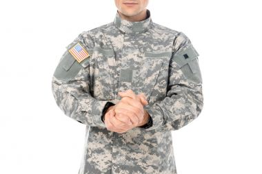 Cropped shot of military man in usa camouflage uniform isolated on white stock vector
