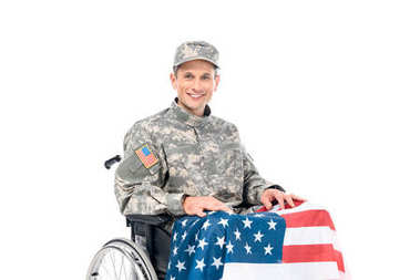 smiling soldier in wheelchair