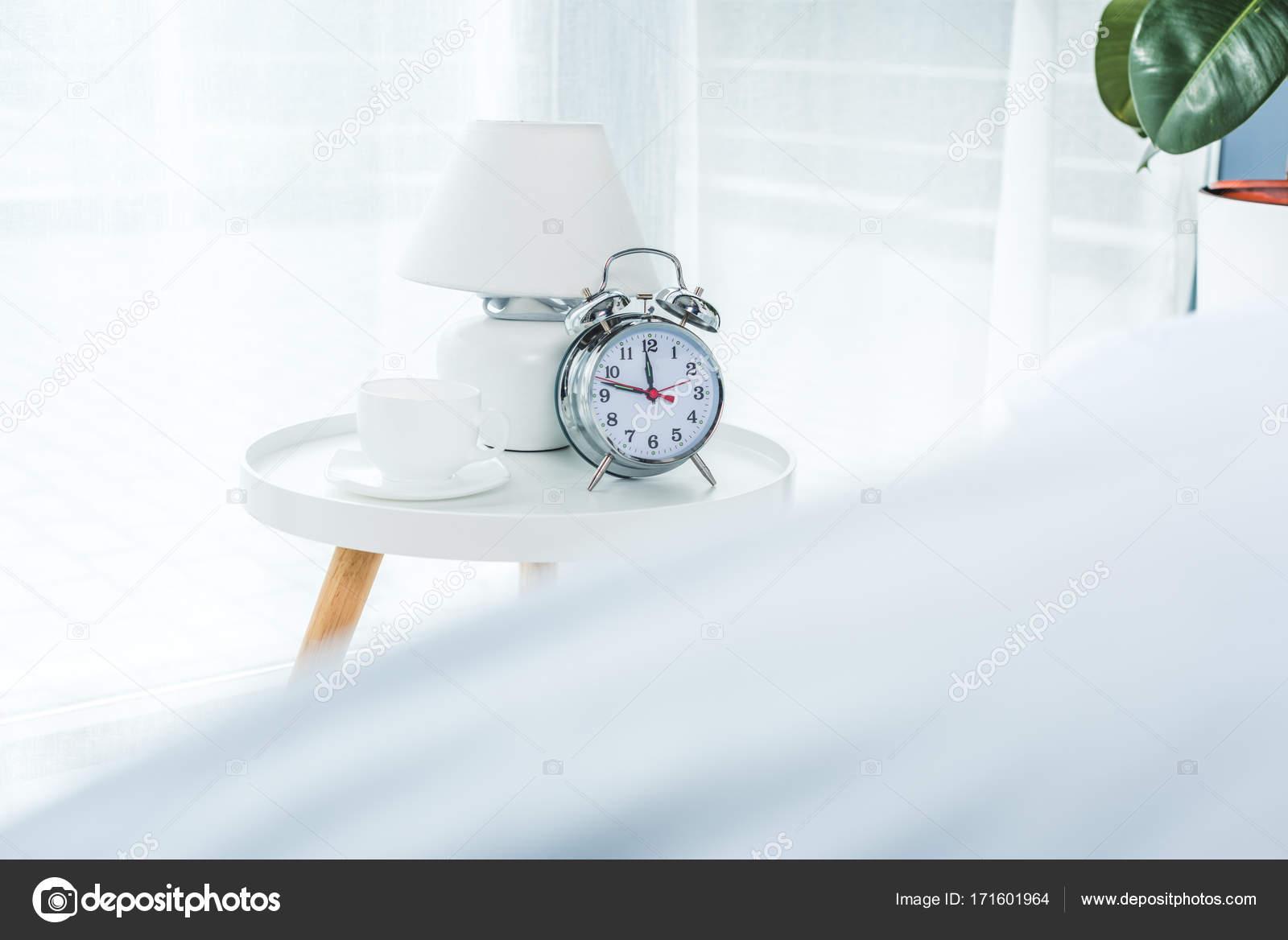 Alarm Clock In Bedroom U2014 Stock Photo