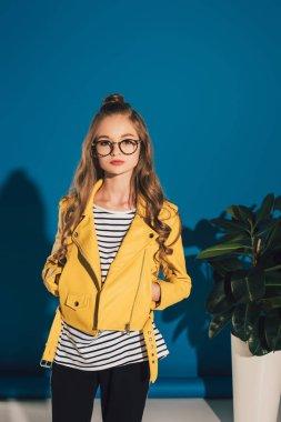 stylish girl in leather jacket