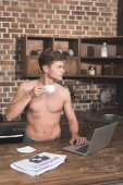 shirtless man using laptop
