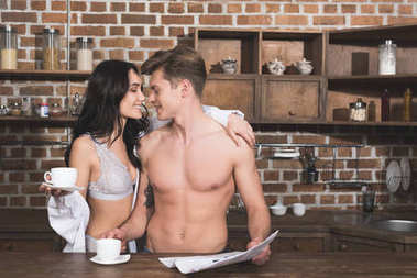 couple drinking coffee at morning
