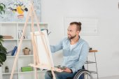 Photo disabled man painting