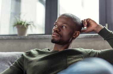 pensive african american man
