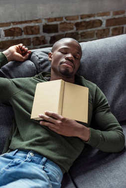 Portrait of young african american man with book sleeping on sofa at home stock vector