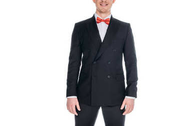 Cropped shot of handsome stylish young man in suit and bow tie smiling isolated on white stock vector