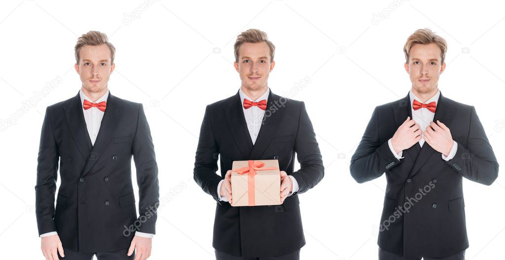 men in stylish suits with present