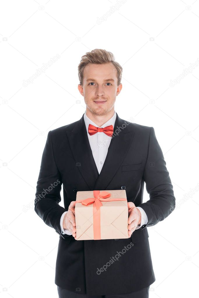 fashionable man with gift box