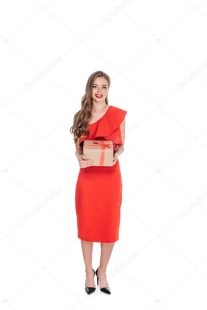 elegant woman with gift box