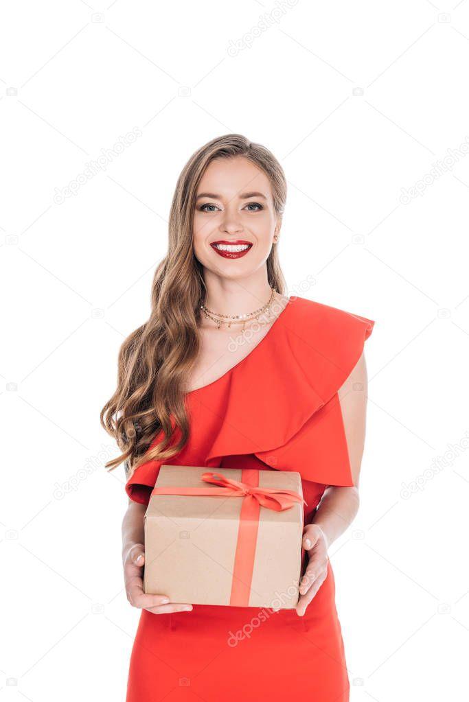 elegant woman with gift box