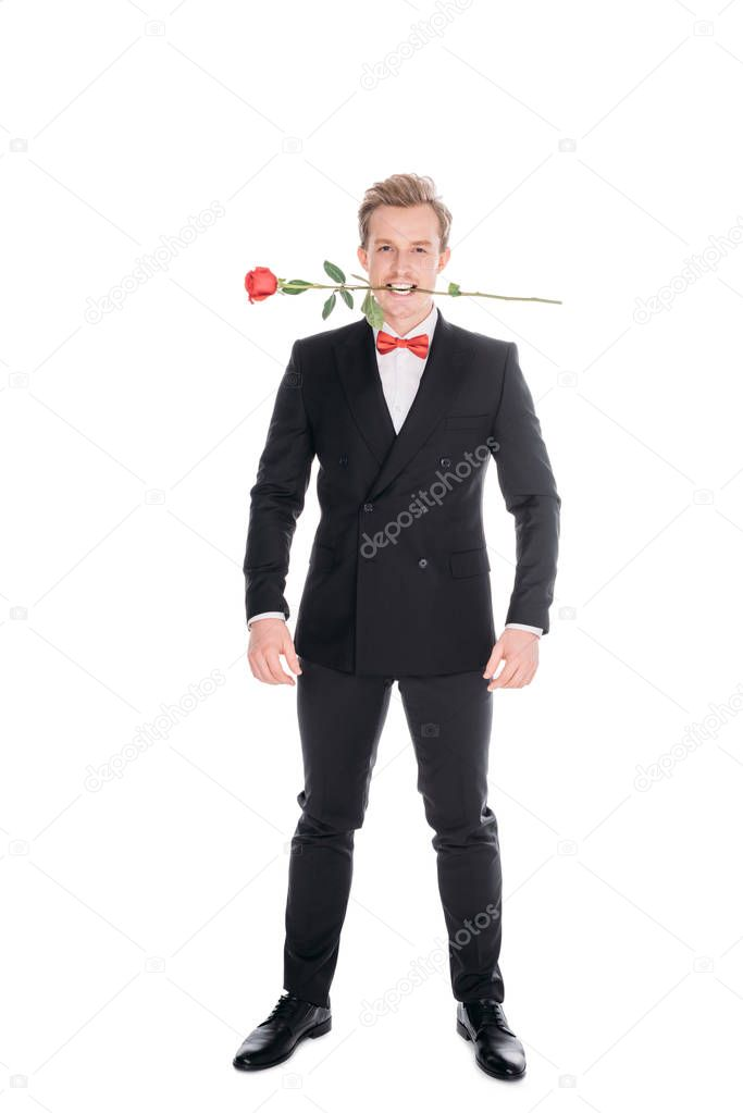 stylish man with rose in teeth