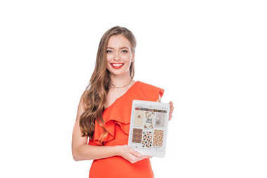 elegant woman with digital tablet
