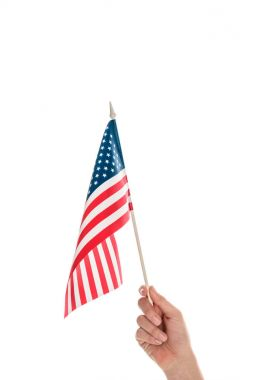 Cropped shot of hand holding american flag isolated on white stock vector
