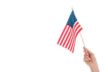 Close-up partial view of hand holding american flag isolated on white stock vector