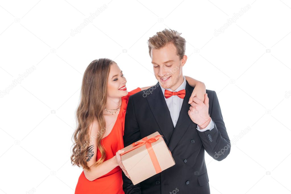 couple with st valentines day present