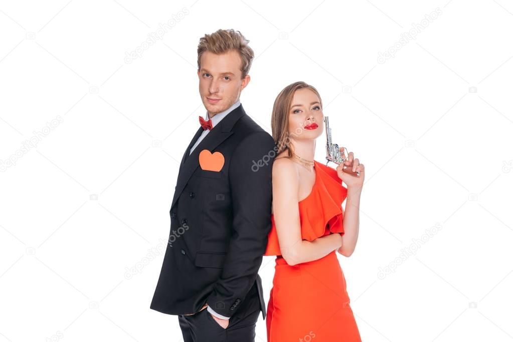 young couple with revolver