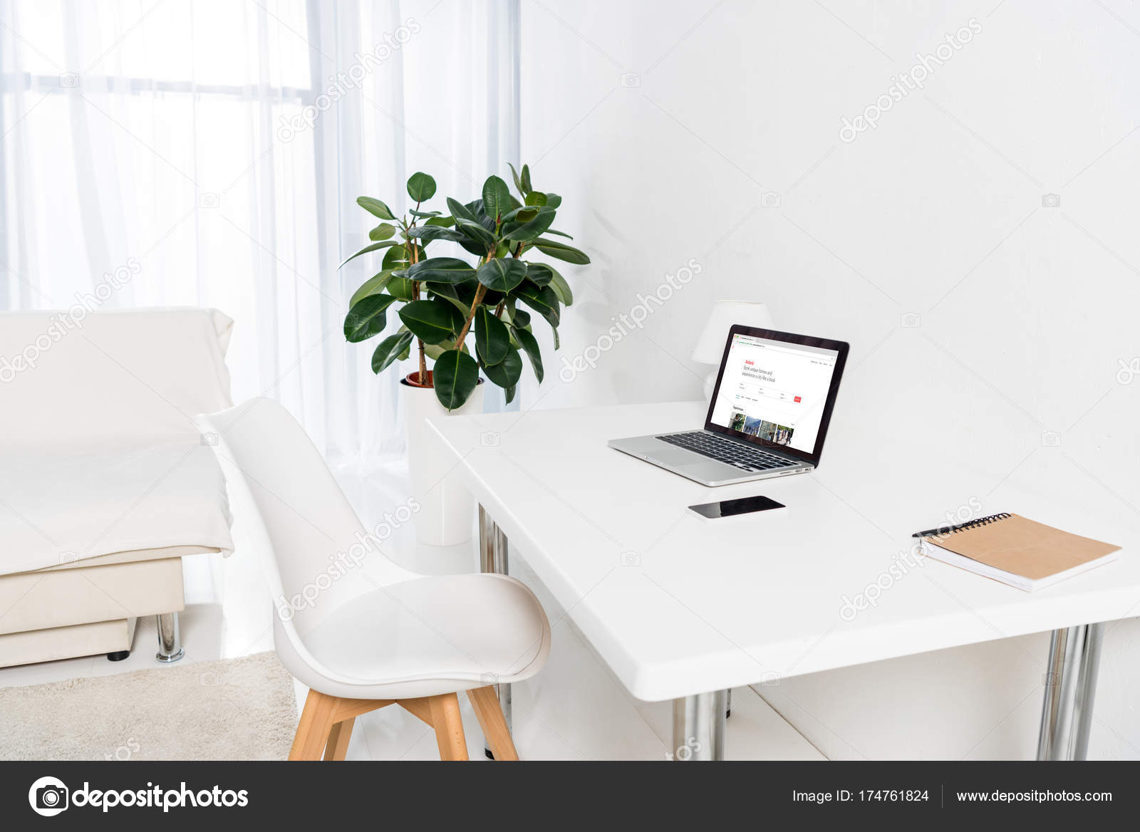 Home Office Laptop Airbnb Logo Smartphone Notebook Table – Stock ...