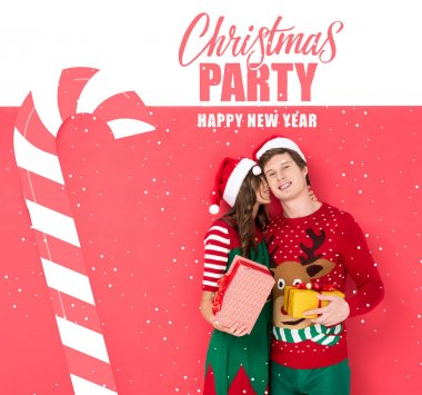 Portrait of sensual couple in santa hats with gifts in hands, Christmas party and happy new year lettering stock vector